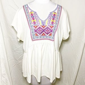 White Bib Front Embroidered Tunic T-shirt